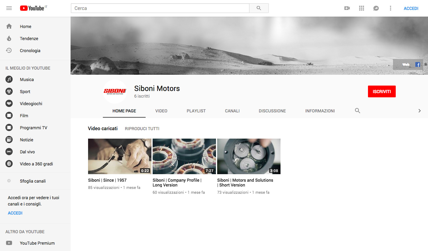 Canale YouTube Siboni